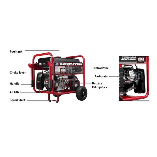 Shop All Power 10 000 Watt Gasoline Powered Electric Start Portable Generator With Mobility Cart Overstock 8022143