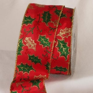 """Metallic Red and Gold Mistletoe Wired Craft Ribbon 2.5"""" x 20 yards"""