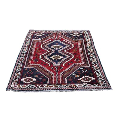 """Shahbanu Rugs Red Hand Knotted Double Medallion Design Pure Wool New Persian Shiraz Oriental Rug (3'10"""" x 5'5"""") - 3'10"""" x 5'5"""""""