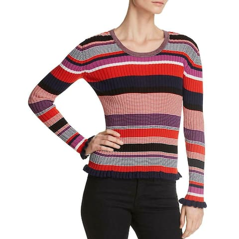 Boss Hugo Boss Blue Womens Size Large L Striped Scoop Neck Sweater