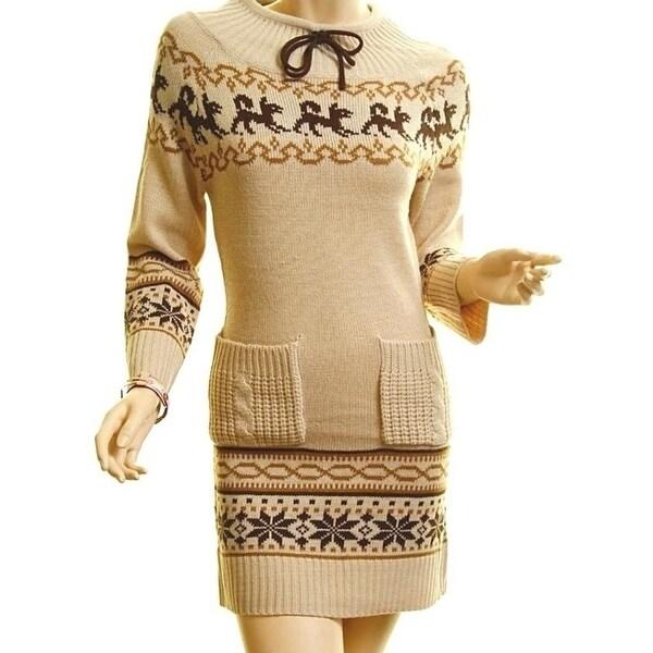 Haute Boho Beige Knit Ribbed Hem Xmas Snowflake Sweater Dress Tunic Top S M L