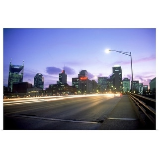 """Skyline from Woodland Bridge, Nashville"" Poster Print"