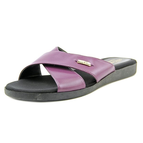 Cole Haan Augusta Sandal Women Open Toe Leather Purple Slides Sandal