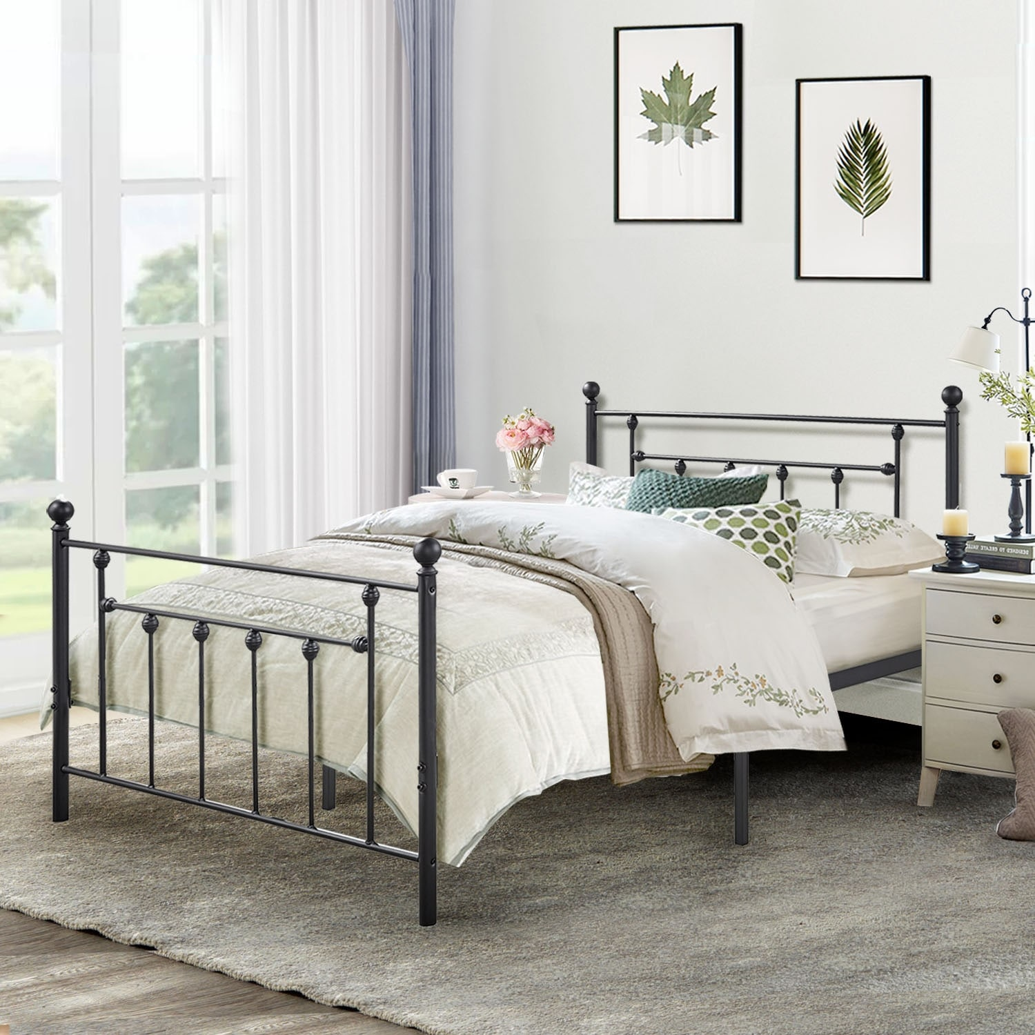 Exceptionnel VECELO Metal Beds Victorian Metal Platform Bed Frames With Headboard And  Footboard
