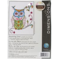 """Blooming Owl Counted Cross Stitch Kit-5""""X7"""" 14 Count"""