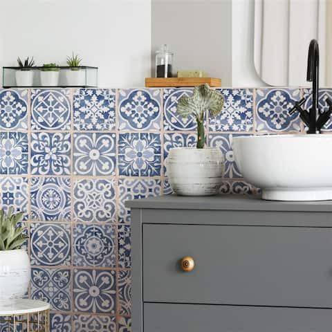 SomerTile 13x13-inch Faventia Azul Ceramic Floor and Wall Tile (10 tiles/12.2 sqft.)