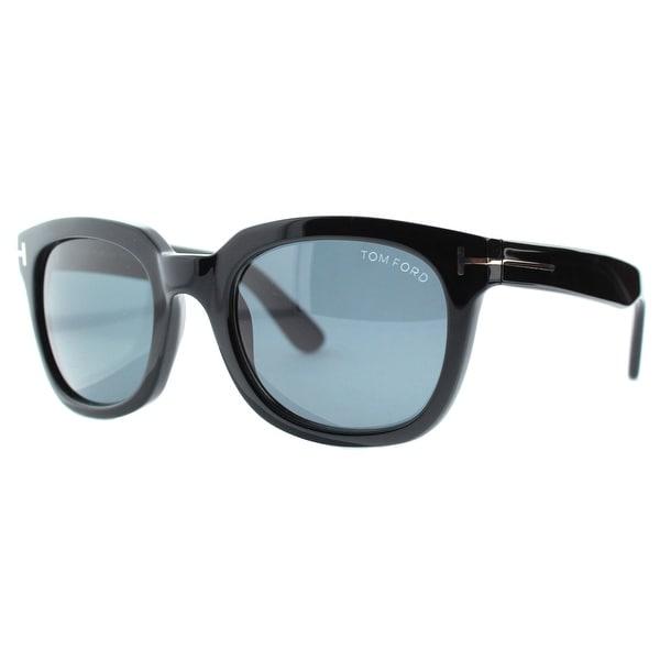 78b1070c09cd Tom Ford Campbell TF198 01A Black Shiny Smoke Grey Unisex Square Sunglasses  - Shiny Black -