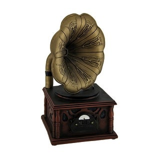 Vintage Gramophone Bronze and Wood Finish Coin Bank