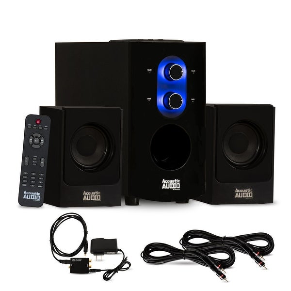 Acoustic Audio AA2130 Bluetooth 2.1 Speaker System w/ Optical In & 2 Ext. Cables