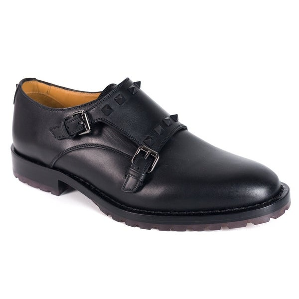 Valentino Men Black Leather Rockstud Double Monkstrap Derby Shoes
