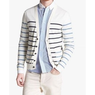 Shipley & Halmos NEW White Ivory Mens Size XL Striped Cardigan Sweater