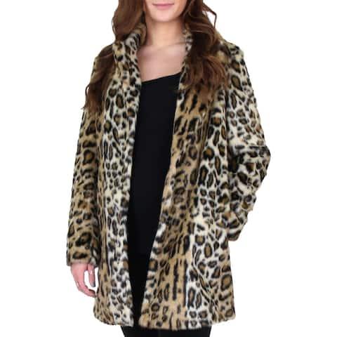 Sam Edelman Women's Faux Fur Notch Collar Mid-Length Oversized Coat