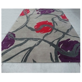 9.6x13.6 Feet Grey Green Red Purple Huge Over sized Geometric Wool Carpet Rug Modern Contemporary
