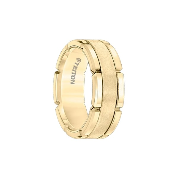 ALAMAR Gold Plated Tungsten Carbide Flat Comfort Fit Band with Brush Center & Bright Rims by Triton Rings - 8mm