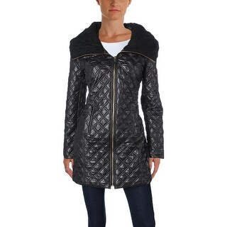 Via Spiga Womens Coat Quilted Knit Collar
