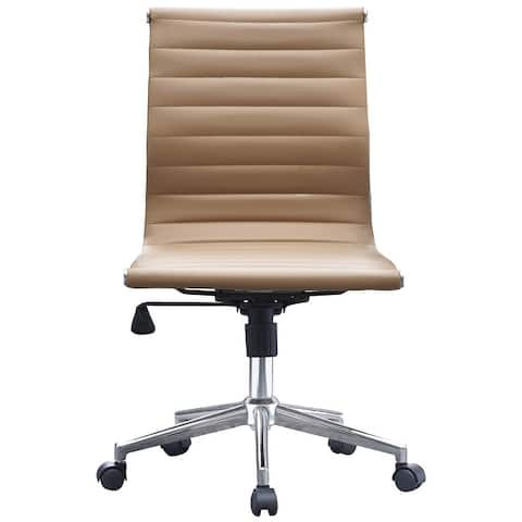 Tan Sleek Swivel Modern Adjustable PU Leather Office Chair Mid-Back Armless Ribbed Chair Conference Room Work Task Desk