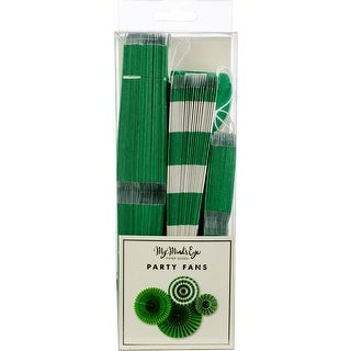 Green - My Mind's Eye Basics Party Fans 4/Pkg