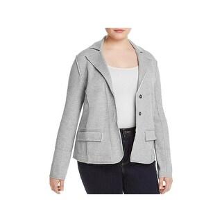Nic + Zoe Womens Plus Two-Button Blazer Heathered Office Wear