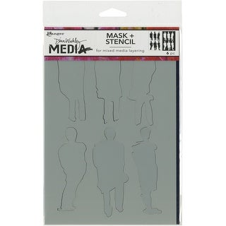 "Dina Wakley Media Stencils + Masks 6""X9""-Funky Silhouettes"