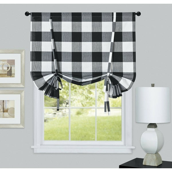 Kate Aurora Country Farmhouse Buffalo Plaid Gingham Tie Up Window Curtain Shades - 42 in. W x 63 in.. Opens flyout.