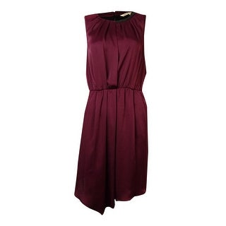 RACHEL Rachel Roy Women's Pleather Neck Charmeuse Dress - red current - 4