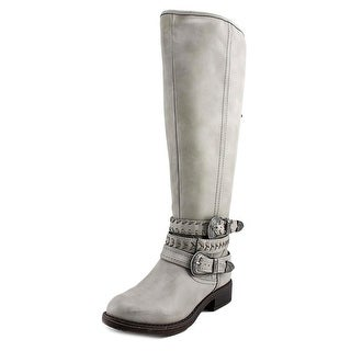 Madden Girl Carrage Women Round Toe Synthetic Gray Mid Calf Boot