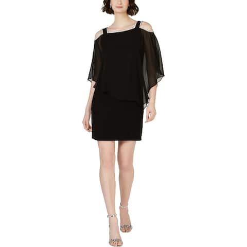 MSK Womens Cocktail Dress Chiffon Cold Shoulder - Black