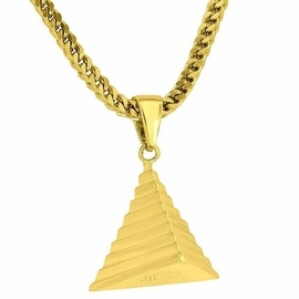 Mens Designer Egyptian Pyramid Pendant 8K Yellow Gold Tone Franco Necklace Authentic Jewelry