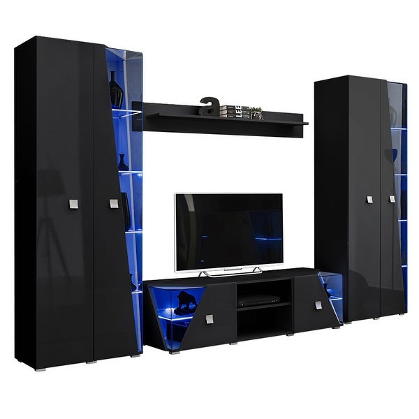 Edge Set TV-BK-BK-SH Modern Wall Unit Entertainment Center. Opens flyout.