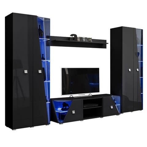 Edge Set TV-BK-BK-SH Modern Wall Unit Entertainment Center