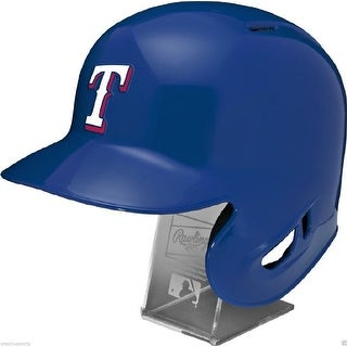 Texas Rangers Rawlings Full Size Batting Helmet Left Ear Flap with Display stand