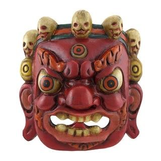 Nepalese Lord Mahakala Tibetan Buddhism Wooden Mask Wall Decor