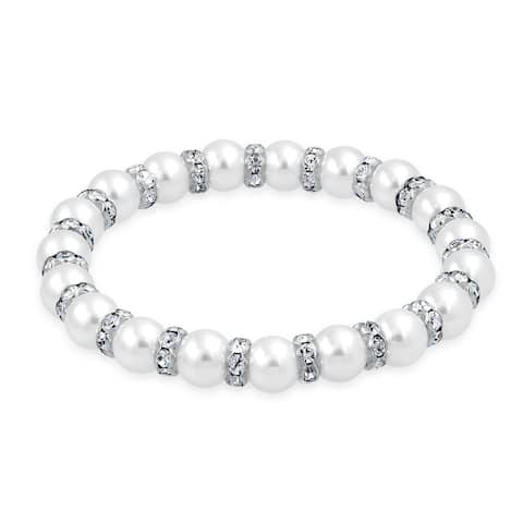 White Imitation Pearl Stackable Strand Stretch Bracelet For Women White Crystal Rondelle Spacer Silver Plated Brass