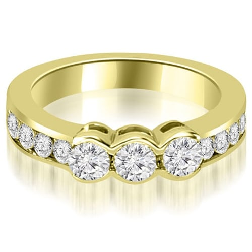 1.10 cttw. 14K Yellow Gold Bezel Set Round Cut Diamond Wedding Band