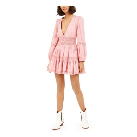 FREE PEOPLE Womens Pink Long Sleeve Mini Fit + Flare Dress Size 8