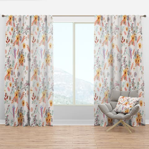 Designart 'Floral Pretty Pattern with Colorful Pastel Flowers' Bohemian & Eclectic Curtain Panel