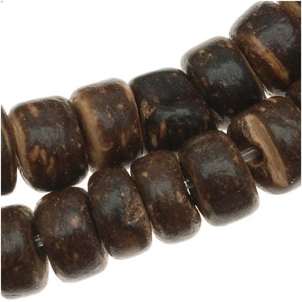 Dark Brown Wood Coconut Shell Rondelle Beads - 5.5mm Diameter - 15.5 Inch Strand