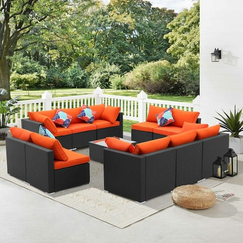 11 Pcs Rattan Sofa Sectional Set Patio Furniture
