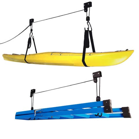 Leisure Sports Kayak Storage Hoist- Set of 2- Pulley & Strap System to Lift Canoes, SUPs & Ladders to the Ceiling