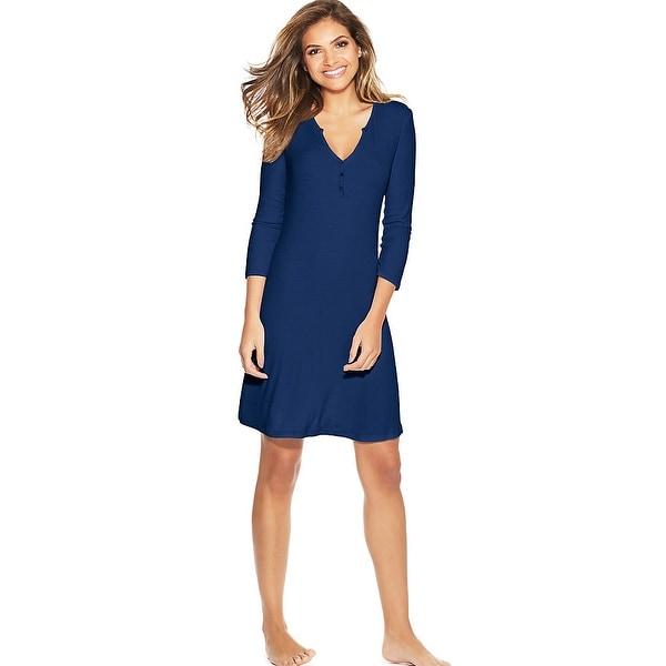 Maidenform Henley Sleepshirt - Color - Blue Depths - Size - L