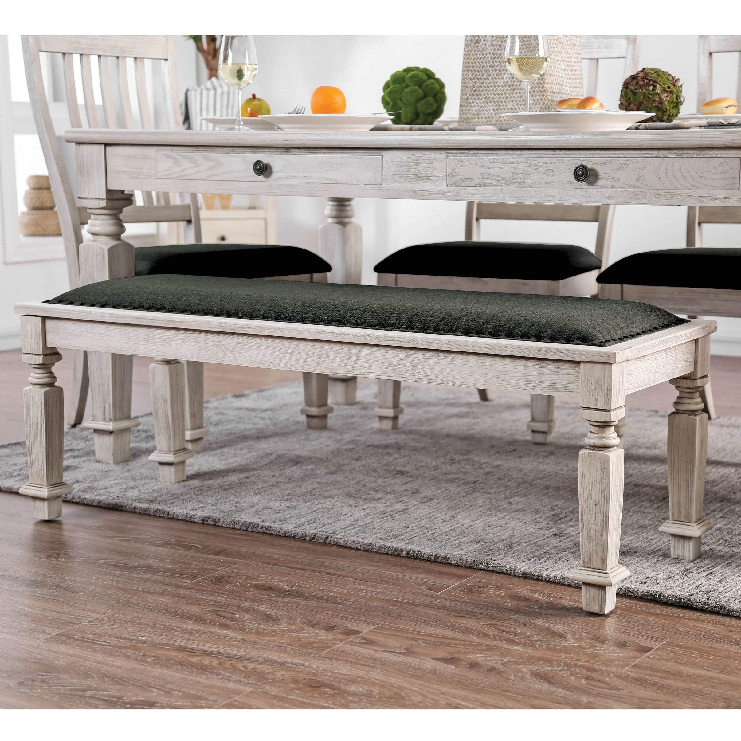 Furniture Of America Hish Rustic White Fabric Upholstered Dining Bench On Sale Overstock 21475358