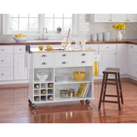 Simple Living Alta Kitchen Cart with Wine Storage