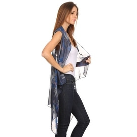 Womens Mid-length Lightweight Open Front Sleeveless Poncho. Dragonfly pattern