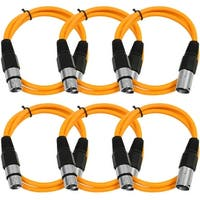 SEISMIC AUDIO (6 PACK) Orange 3' XLR Patch Cables Snake