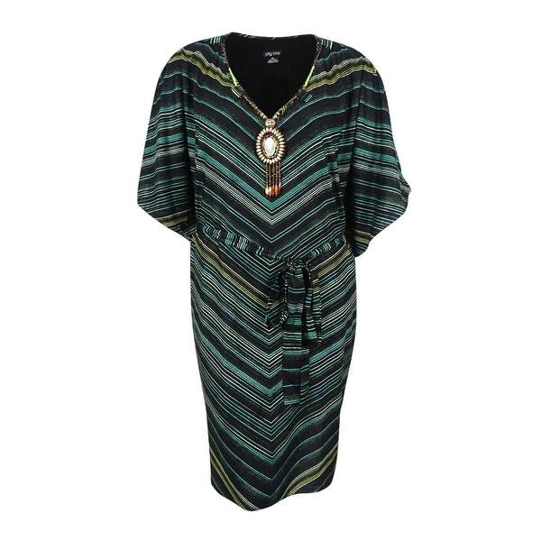 City Chic Womens Plus Size Chevron Print Tunic Dress Xxl Olive