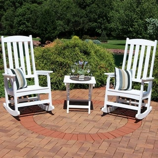 Sunnydaze All-Weather Traditional Rocking Chair Set of 2 with Side Table - White