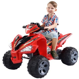 Costway Xmas Gift Kids Ride On ATV Quad 4 Wheeler Electric Toy Car 12V Battery Power Led Lights