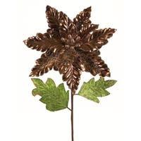 Pack of 6 Metallic Bronze Vinyl and Polyester Poinsettia Stem 25""
