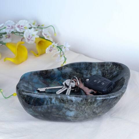 Evaluesell Labradorite Free Form Bowl Handmade - 195 x 144 x 84 mm