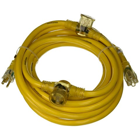 Yellow Jacket 2830 Multi-Outlet (3) Extension Cord with Power Light Plug, 25'